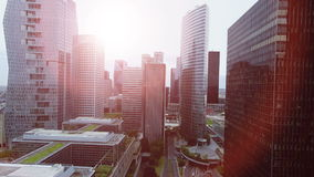 Aerial view of modern cityscape buildings district stock footage