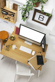 Aerial view of modern creative workspace. Royalty Free Stock Photography