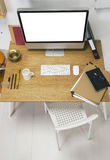 Aerial view of a modern creative workspace. royalty free stock photography