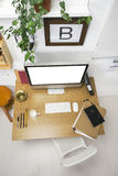 Aerial view of a modern creative workspace. Stock Photography