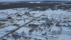 Aerial view Modern facility with tube or powerful process area at oil field stock footage
