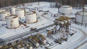 Aerial view Modern facility with tube or powerful process area at oil tank farm stock video footage