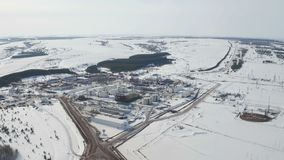Aerial view modern facility with tubing or powerful process area Oil Industry. Modern facility with tube or powerful process area at the oil depot or tank farm stock footage