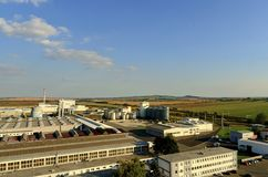 Aerial view of modern factory. Modern plant with blue sky. Stock Photography