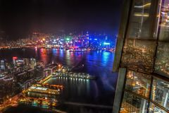 Aerial View of City Neon Lights and Skyscrapers at Night, Hong Kong stock photo