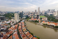 Aerial view of modern and historical architecture in Singapore Stock Photos
