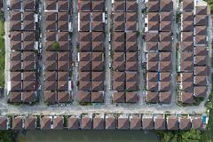 Aerial view of modern houses village top view image from drone. stock photo