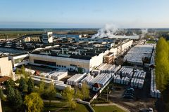 Aerial view of modern large industrial factory, industrial area. Royalty Free Stock Image