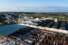 Aerial view of modern large industrial factory, industrial area. Royalty Free Stock Photography