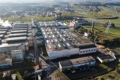 Aerial view of modern large industrial factory, industrial area. Royalty Free Stock Photos