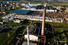 Aerial view of modern large industrial factory with smokestack, Stock Photos