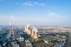 Aerial view of thermal power plant Royalty Free Stock Image
