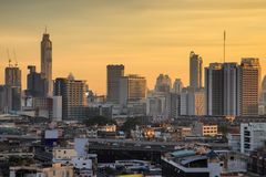 Aerial view modern office buildings in Bangkok city downtown with sunrise time Royalty Free Stock Photos