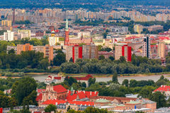 Aerial view of modern and Old town, Warsaw, Poland Royalty Free Stock Photography
