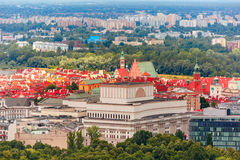 Aerial view of modern and Old town, Warsaw, Poland Stock Photography