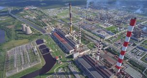 Aerial view of modern power plant facility stock footage