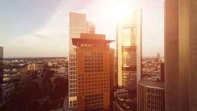 Aerial view of modern skyscraper buildings cityscape. Aerial view of modern skyscraper buildings at sunset magic hour stock footage