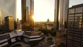 Aerial view of modern skyscraper buildings stock footage