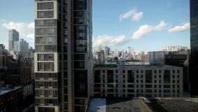 Aerial view of modern skyscrapers office buildings