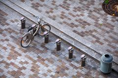 Aerial view. Modern small cobbled square with parking bikes, bic Stock Image