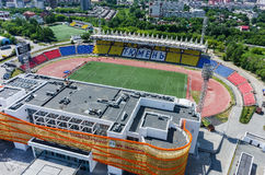Aerial view of modern stadium. Tyumen. Russia Royalty Free Stock Photos