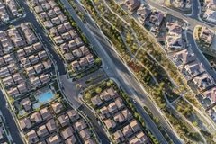 Aerial view of modern suburban rooftops stock photos