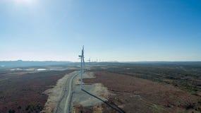 Aerial View of Modern Windmill Turbine, Wind Power, Green Energy Stock Photo
