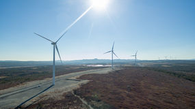 Aerial View of Modern Windmill Turbine, Wind Power, Green Energy Stock Photography