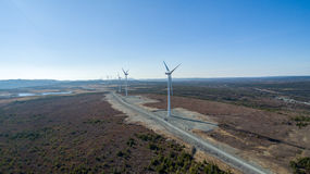 Aerial View of Modern Windmill Turbine, Wind Power, Green Energy Royalty Free Stock Image