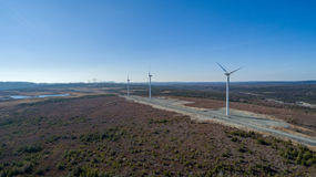 Aerial View of Modern Windmill Turbine, Wind Power, Green Energy Stock Image