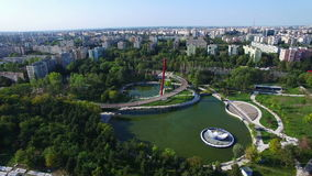 Aerial view of Moghioros park, Bucharest city, Romania. Hd video stock footage
