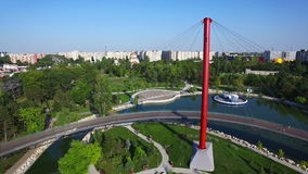 Aerial view of the Moghioros park in Bucharest, landing, Romania. Hd video stock video footage