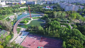 Aerial view of Moghioros park in Bucharest, Romania. Hd video stock footage