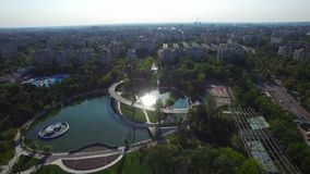 Aerial view of Moghioros park, Bucharest, Romania. Hd video stock footage