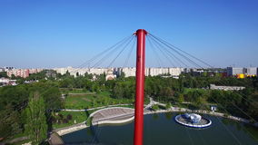 Aerial view of the Moghioros park in Bucharest, tilt, Romania. Hd video stock video