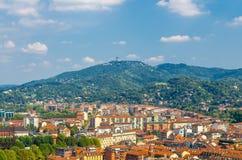 Aerial view from Mole Antonelliana tower platform of Turin Torino Borgo Po stock photo