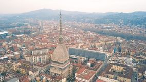 Aerial view of Mole Antonelliana. In Turin stock video footage
