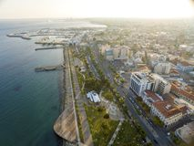 Aerial view of Molos, Limassol, Cyprus Royalty Free Stock Photography