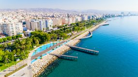 Aerial view of Molos, Limassol, Cyprus royalty free stock photos