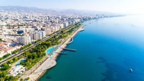 Aerial view of Molos, Limassol, Cyprus stock image