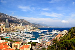 Aerial view of Monaco harbor Stock Images