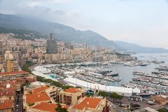 Aerial View on Monaco Harbor with Luxury Yachts Royalty Free Stock Photography
