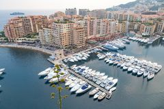 Aerial View on Monaco Harbor with Luxury Yachts Royalty Free Stock Photo