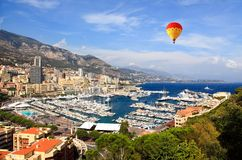 Aerial view of Monaco harbor Royalty Free Stock Photos