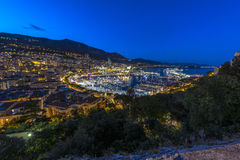 Aerial view of Monaco just after sunset Stock Image