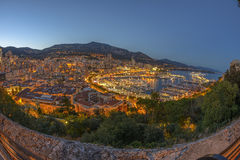 Aerial view of Monaco just after sunset Royalty Free Stock Image