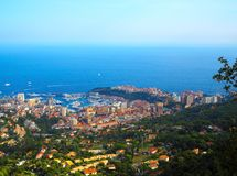 Aerial view of Monaco Monte Carlo city in French Riviera, azure coast Royalty Free Stock Photo