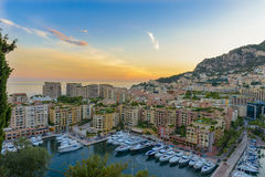 Aerial view of Monaco at sunset stock photo