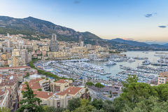 Aerial view of Monaco at sunset Stock Images