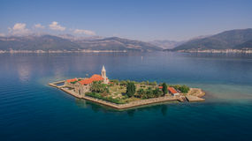 Aerial view of monastery on island Stock Images
